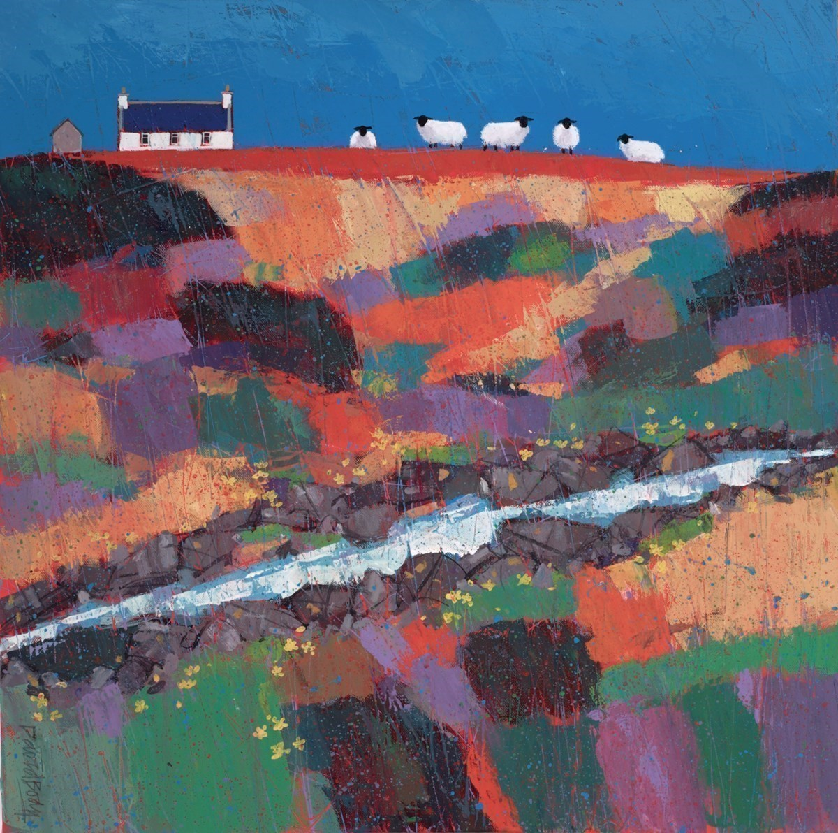 Sheep in Stream by David Body -  sized 24x24 inches. Available from Whitewall Galleries